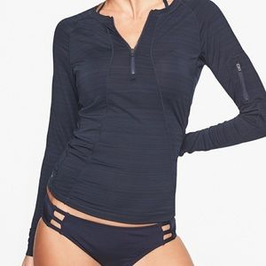 Athleta Green Pacifica UPF Half Zipper Pullover